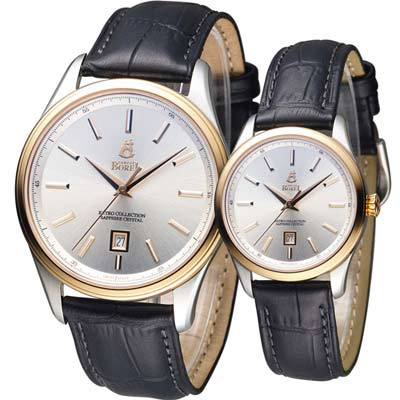 依波路 E.BOREL 復古系列簡約時尚對錶-白/39+31mm
