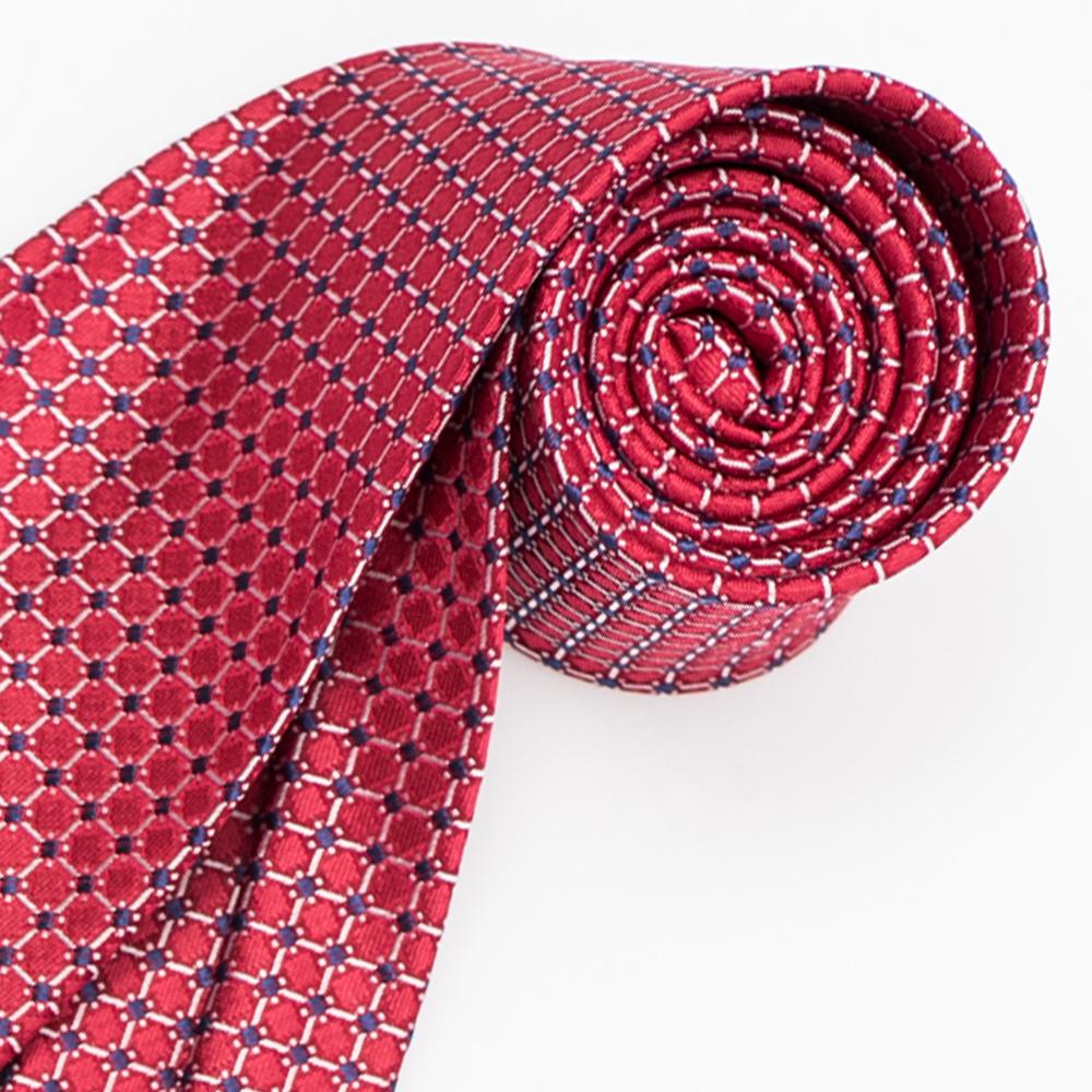 極品西服 優質品味絲100%格紋領帶_紅底灰格(YT5021)