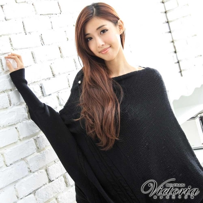 Victoria 寬長版不對稱線衫-女-黑色