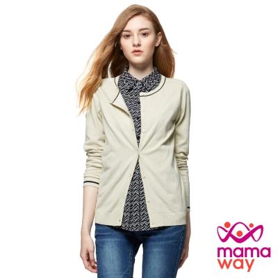 mamaway媽媽餵 襯衫領針織外套孕哺假2件上衣(共2色)