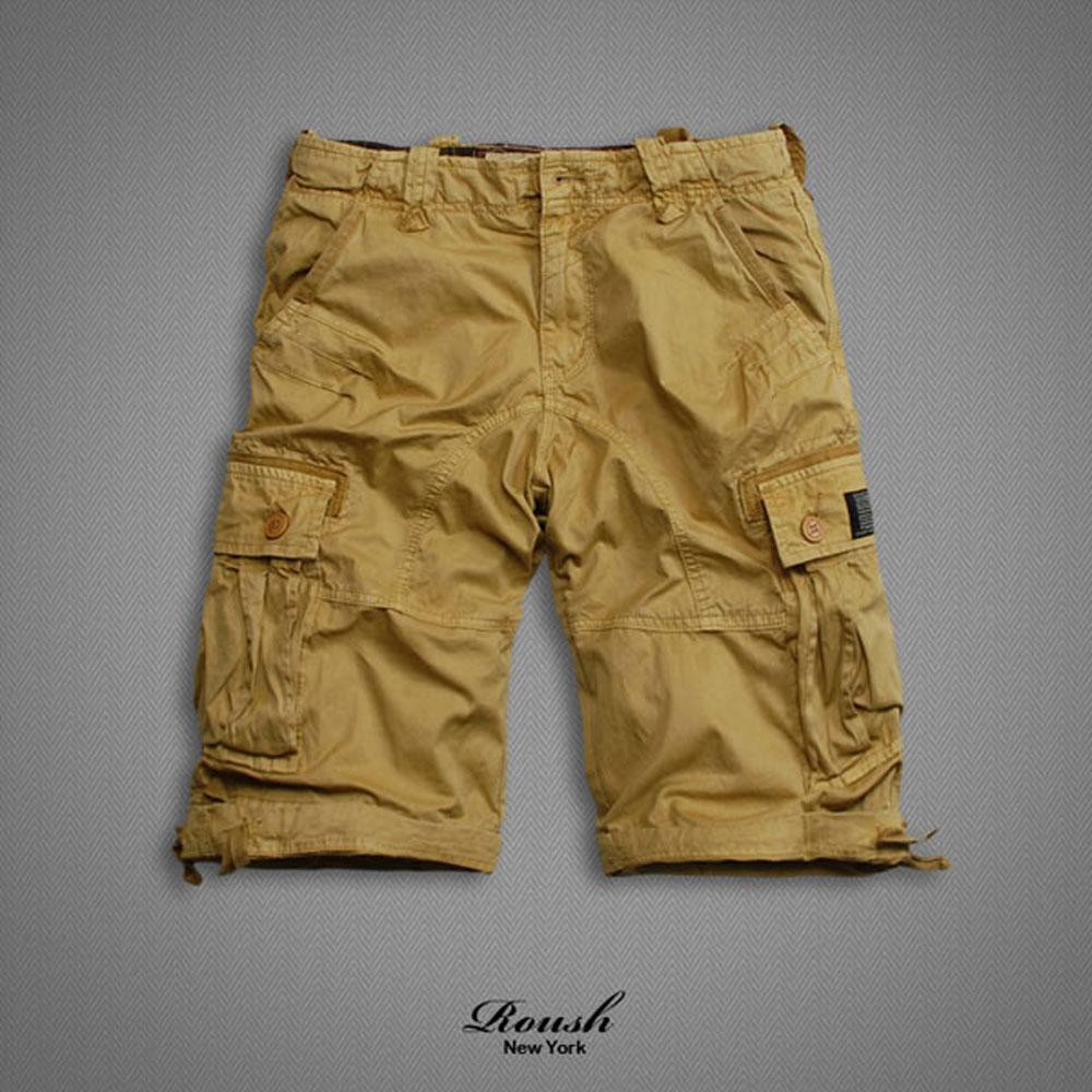 ROUSH 雙口袋黑標設計高磅數水洗短褲(6色)