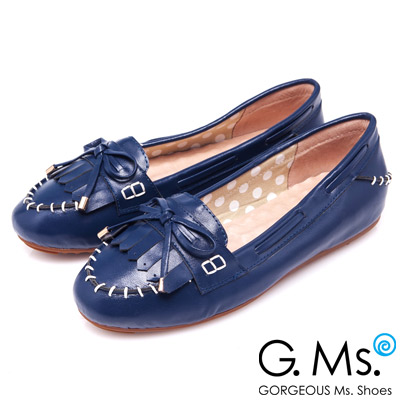 G.Ms. 經典魅力-流蘇蝴蝶結羊皮莫卡辛豆豆鞋-藍莓派