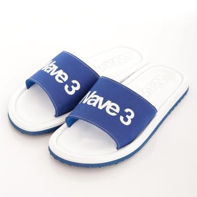 WAVE3【男】 台灣製 天鵝絨LOGO印刷一片拖鞋~藍