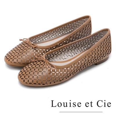 Louise et Cie 甜美可人 舒適蝴蝶結簍空平底鞋-棕色