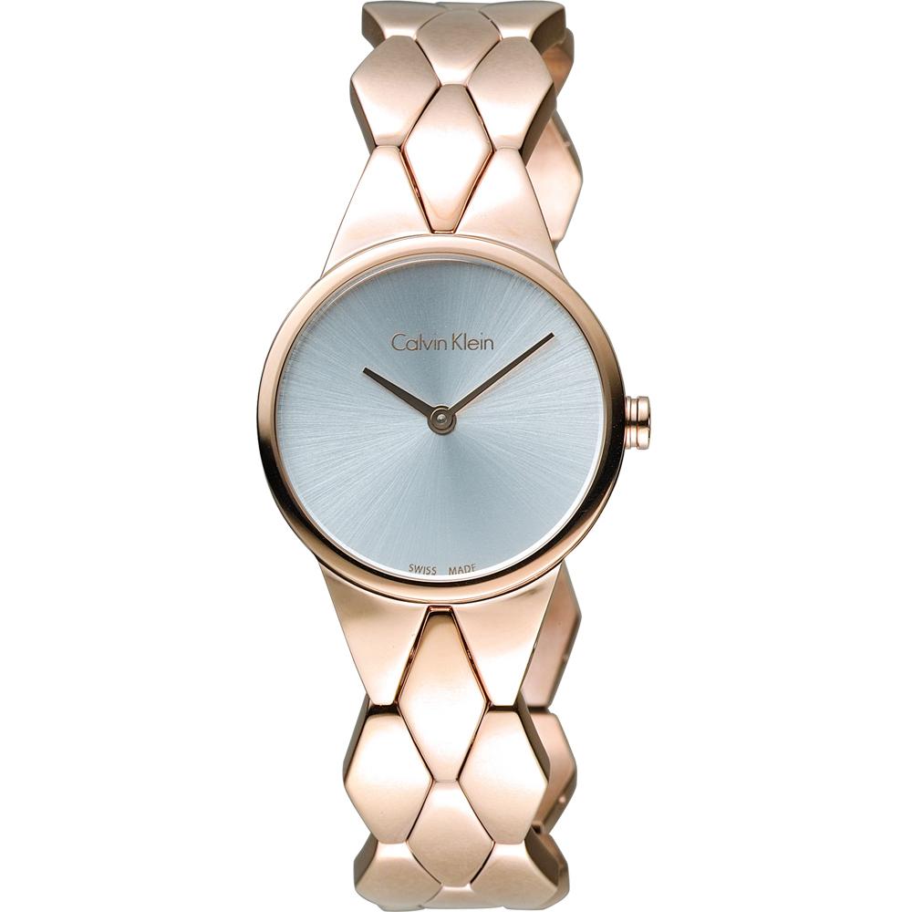 CK Calvin Klein 立體格菱時尚腕錶-玫瑰金色/28mm
