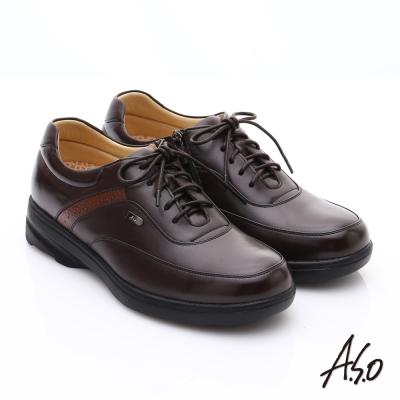 A.S.O 超能耐 綿羊皮奈米氣墊休閒皮鞋 咖啡色