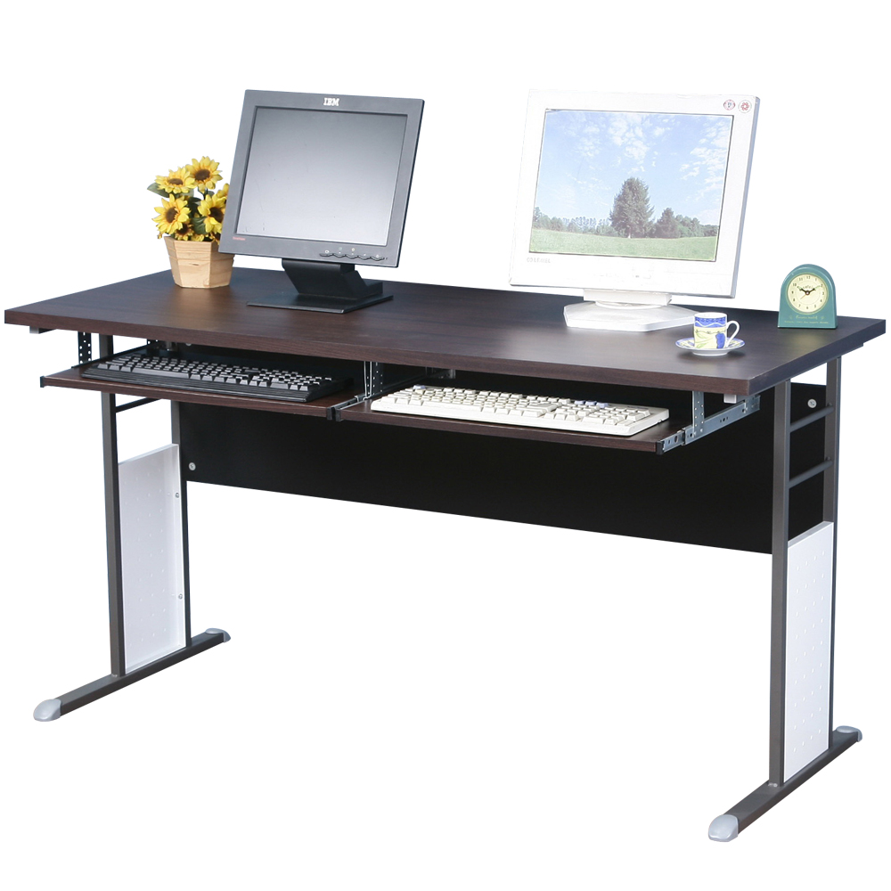 Homelike 巧思140x60辦公桌(附二鍵盤架)-胡桃桌面/炫灰桌腳