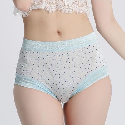 內褲 天然純淨100%蠶絲中高腰三角內褲 (圓點藍) Chlansilk 闕蘭絹