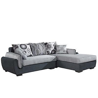 居家生活 佐丹L型灰色沙發組-左L (233*181*77cm)
