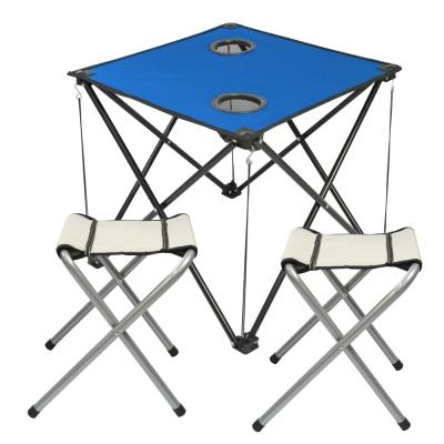 藍色輕量摺疊桌x1+四角凳x2