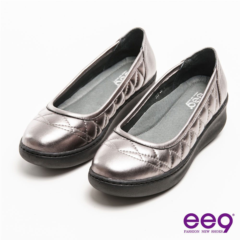 ee9 通勤私藏~經典素面菱格紋車線楔型鞋*灰色