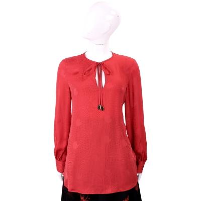 CLASS roberto cavalli 紅色緹花絲緞長袖上衣