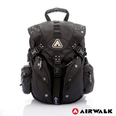 AIRWALK-美式潮流三叉扣尼龍大後背包-活力紫