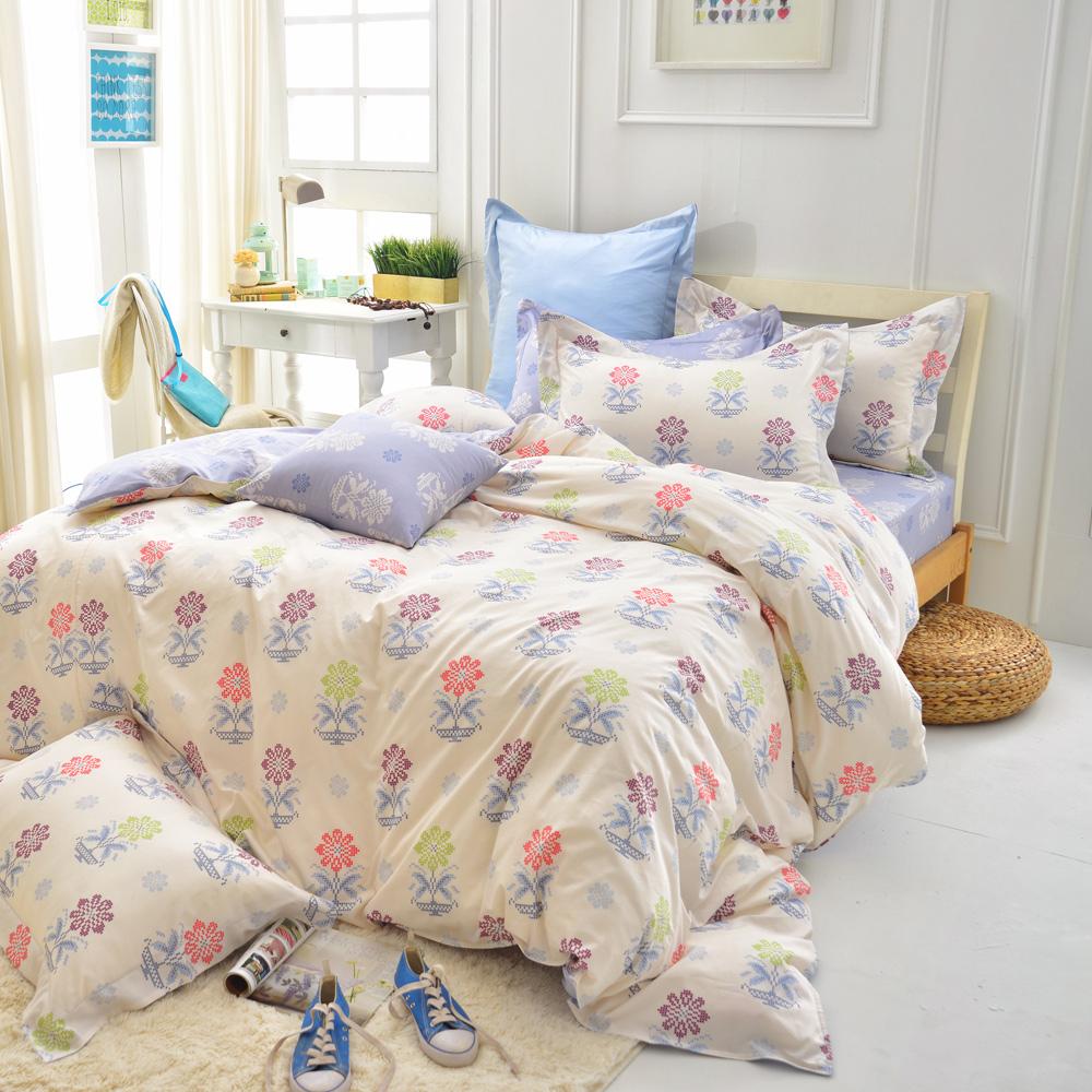 IN HOUSE-Mario s Flower-200織紗精梳棉-兩用被床包組(特大)