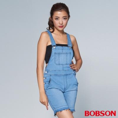 """BOBSON 女款1971""""日本黑標""""淺藍吊帶短褲"""
