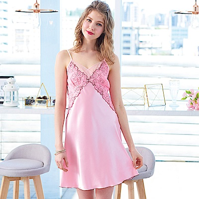 睡衣 彈性珍珠絲質高雅蕾絲性感睡衣(R76039-7豆沙粉) 蕾妮塔塔