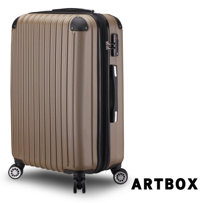ARTBOX-探險意志28吋ABS鑽石抗刮可加大行李箱(香檳金)