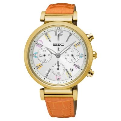 (無卡分期6期)SEIKO LUKIA 太陽能晶鑽計時女錶(SSC842J1)-36mm