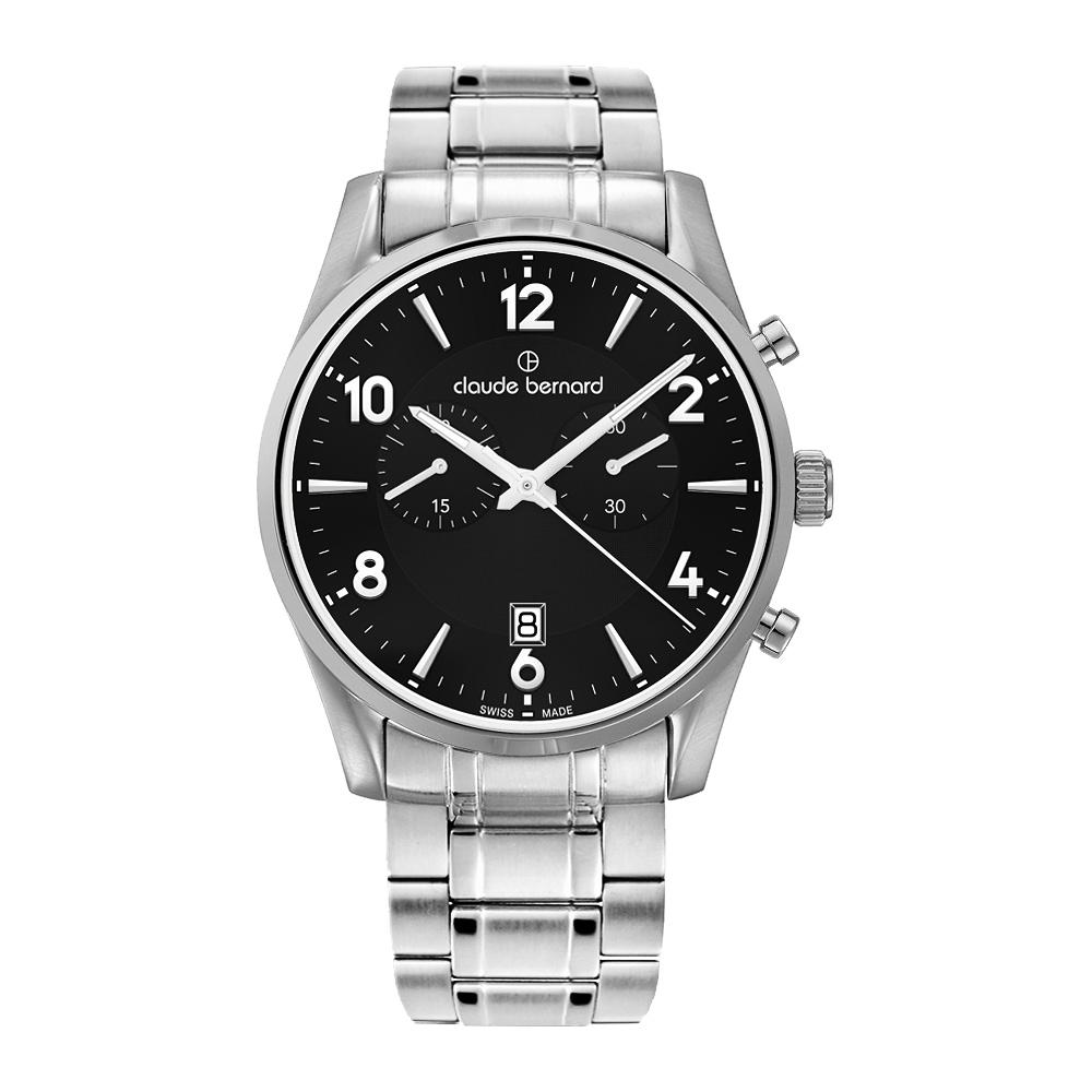 Claude Bernard Classics 競速計時時尚腕錶-黑/銀/42mm