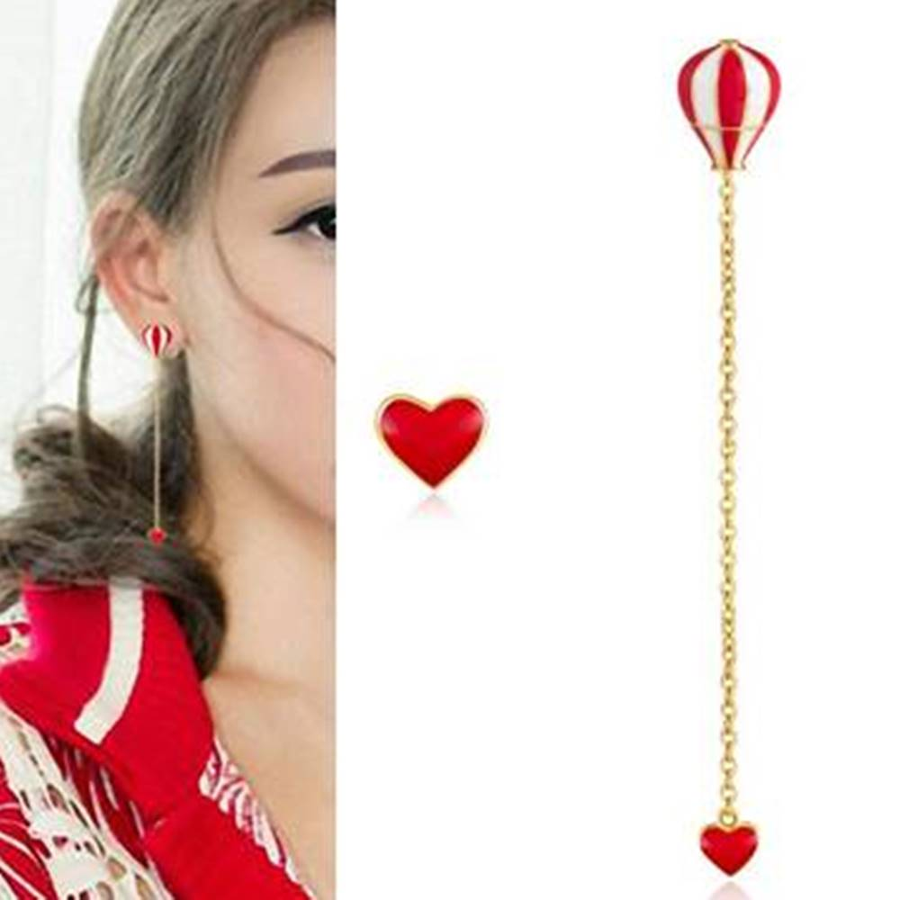 梨花HaNA 韓國925銀紅白熱氣球愛心垂墜耳環