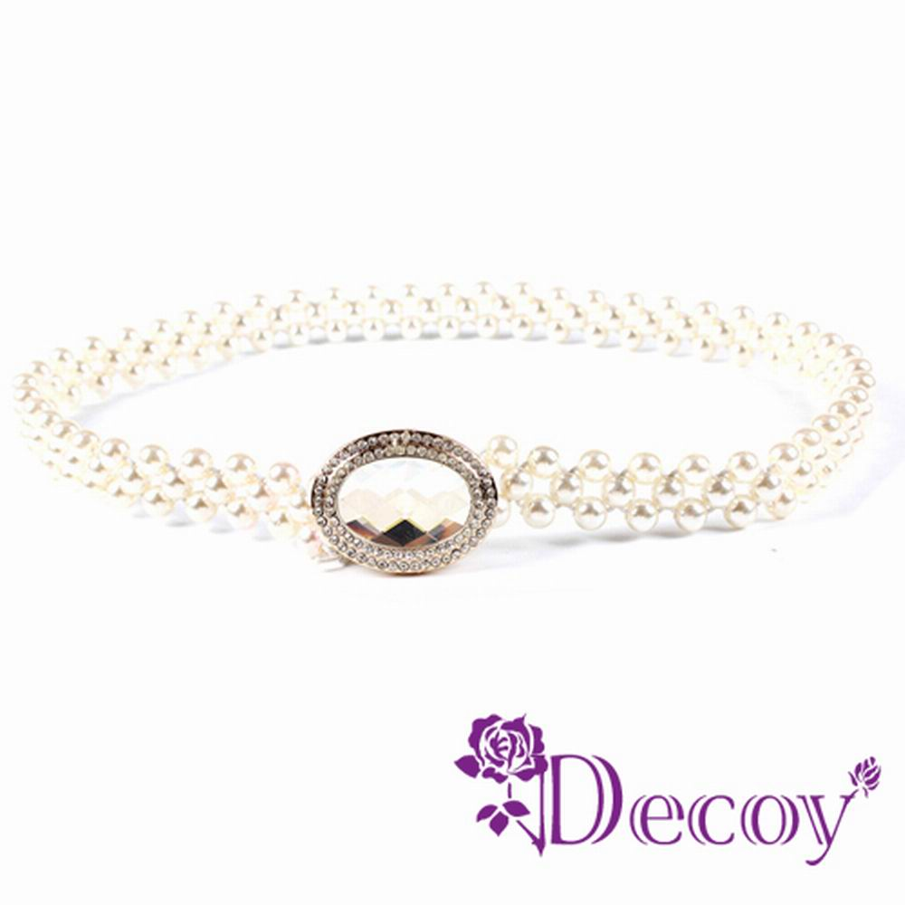 Decoy 蛋型水晶 彈性編織珍珠腰封