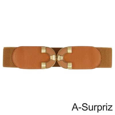 A-Surpriz 亮眼雙C金屬扣環彈性腰帶(駝)