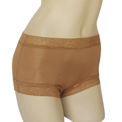 內褲 100%蠶絲蕾絲平口內褲M-XXL(駝色) Seraphic