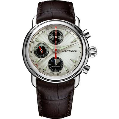 AEROWATCH 專業月相顯示機械計時腕錶-銀x咖啡/42mm