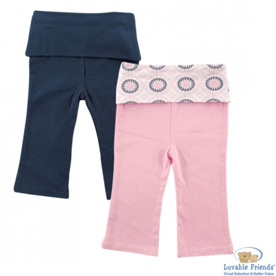 Luvable Friends 粉紅深藍反摺長褲 2 件組