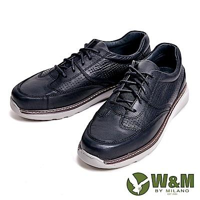 W&M 輕量減壓系列 透氣孔休閒 男鞋-黑(另有咖)