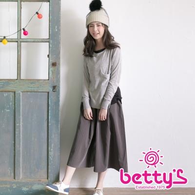 betty's貝蒂思 直條修身寬管褲(灰色)