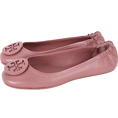 TORY BURCH Minnie Travel 琺瑯盾牌飾平底鞋(乾燥玫瑰粉)