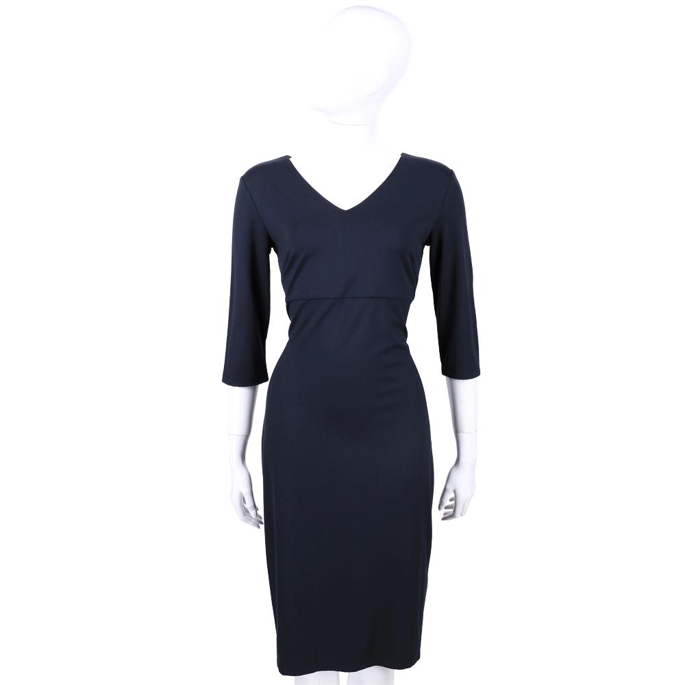 MAX MARA-WEEKEND 深藍色素面V領七分袖洋裝