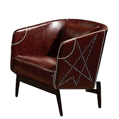 品家居 歐若格透氣皮革沙發單人座-68x68x80cm免組