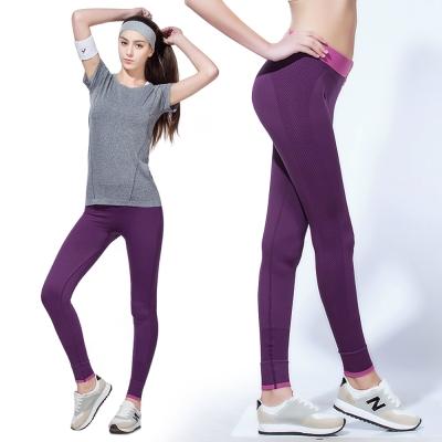 運動褲 彈力瑜珈九分快乾慢跑運動褲-紫色 LOTUS