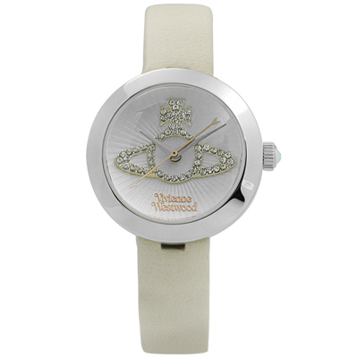 Vivienne Westwood 獨特典雅晶鑽真皮腕錶-銀x杏/ 30 mm