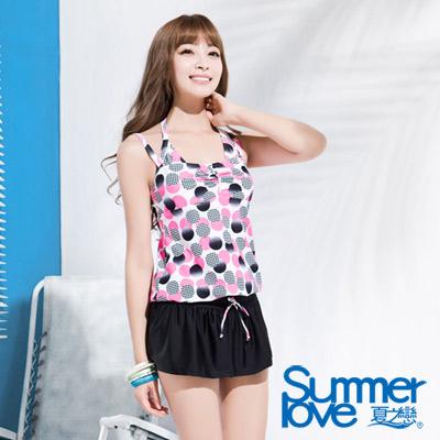 夏之戀SUMMERLOVE 粉紅圓點點連身裙三件式泳衣