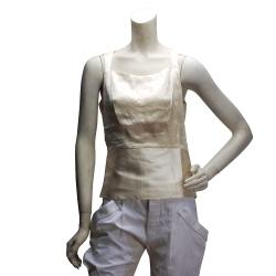 BALENCIAGA 緞面絲質合身短版無袖上衣(淡黃-38)