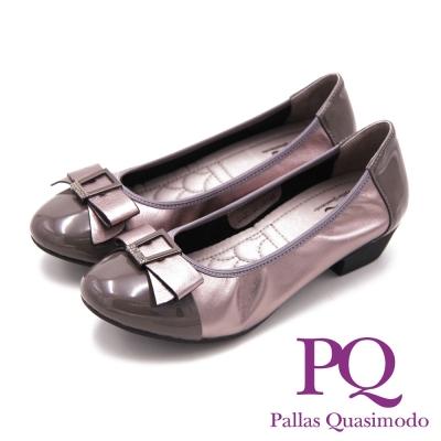 PQ Lady名媛系列 方鑽蝴蝶結造型 女跟鞋-金屬灰(另有氣質粉、黑)