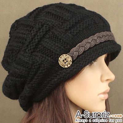 A-Surpriz 潮人鈕釦麻花皮帶毛線帽(氣質黑)