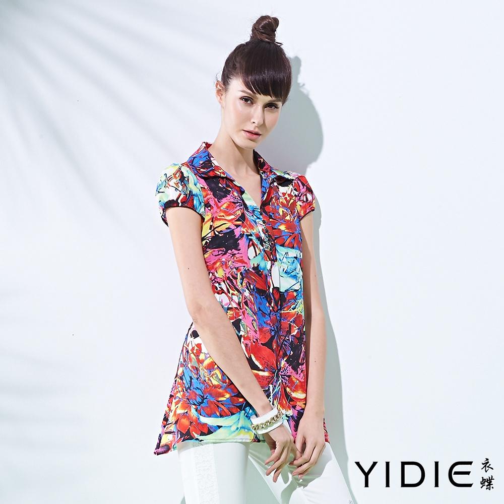 YIDIE衣蝶 襯衫領滿版色彩花卉印花上衣