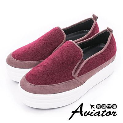 Aviator*韓國空運-正韓製毛料絨鋪棉厚底增高鞋-紅
