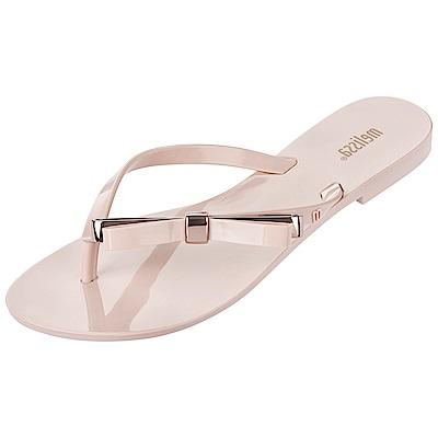 Melissa 極簡金屬結飾夾腳鞋-粉紅