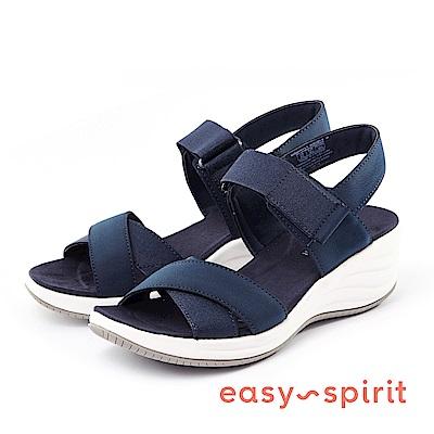 Easy Spirit--交叉帶魔鬼氈楔型涼鞋-海軍藍