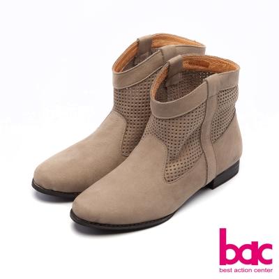 bac彩色部落- 沖孔打洞V口牛仔短靴-灰