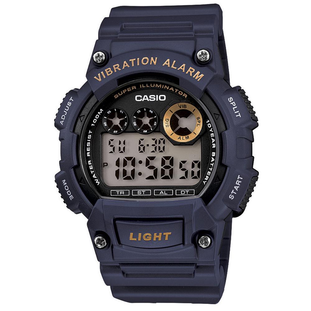 CASIO 超亮LED強悍震動數位運動錶(W-735H-2A)-藍/47mm