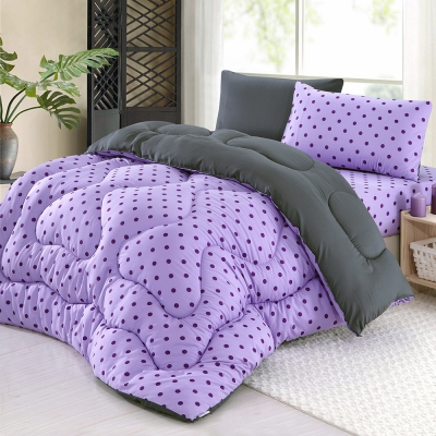 精靈工廠 吸濕排汗專利防蹣抑菌1.3KG雙色點點羽絲絨被6x7呎-浪漫紫+神秘灰