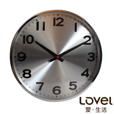 Lovel 38cm工業風鋁框靜音時鐘-銀色時光(M726)