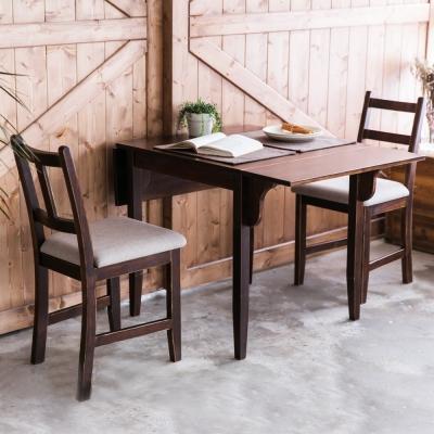 CiS自然行-雙邊延伸實木餐桌椅組一桌二椅74x122公分焦糖+淺灰椅墊