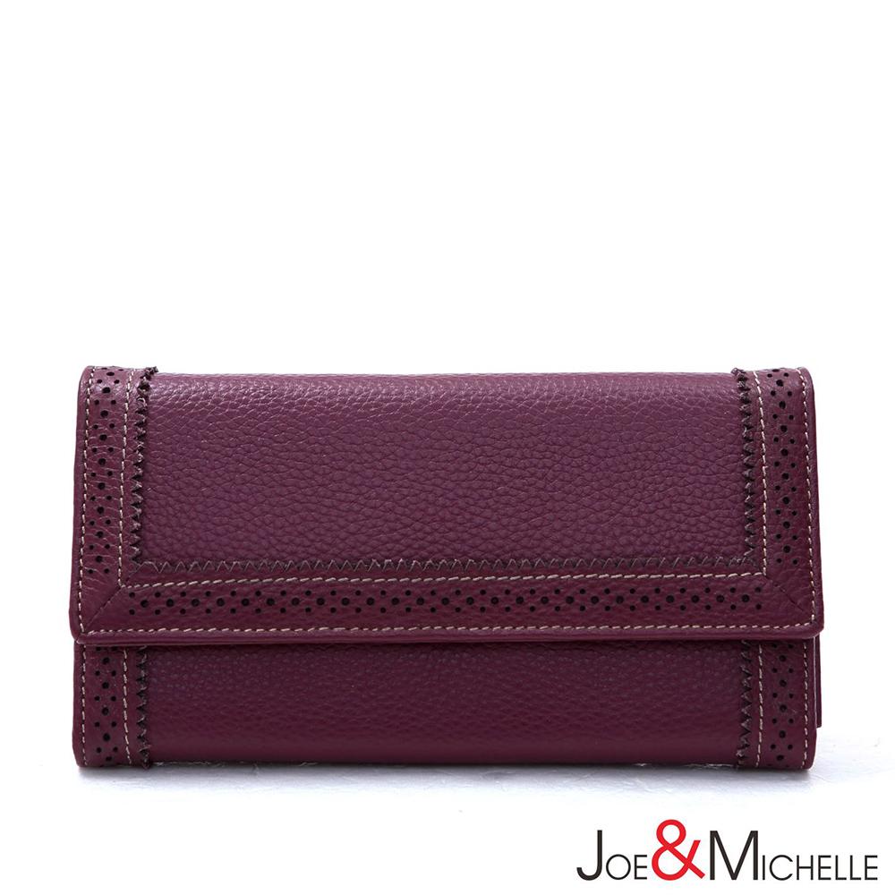 J&M 真皮克萊爾法式優雅三折長夾 羅蘭紫(快)